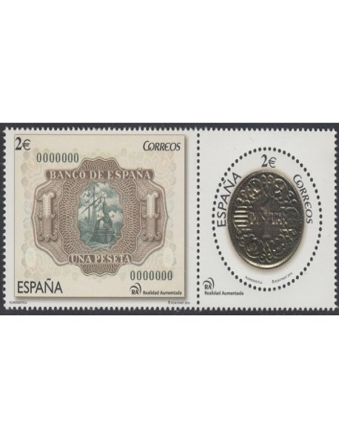 Año 2014 - 4919/20 Billete y Moneda de 1 Peseta / Numismatica
