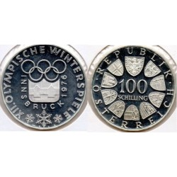 1976 AUSTRIA - 100 SCHILLINGS DE PLATA - PROOF