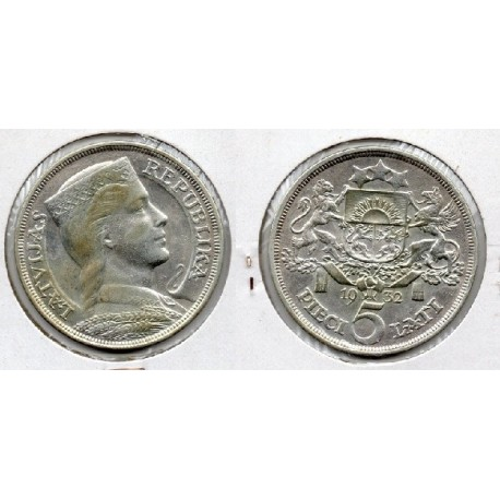 1932 Letonia -5 Latii - Moneda de plata
