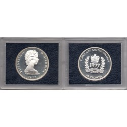 1977 Turks and Caicos - 25 Crowns plata 25 años Jubileo
