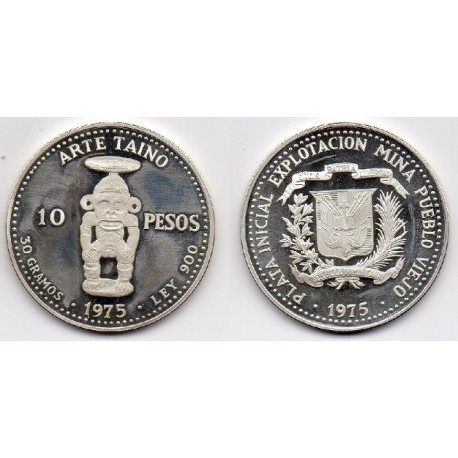 1975 Rep.Dominicana - 10 pesos de plata Proof