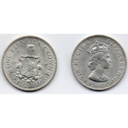 1964 Bermudas- 2 Crown plata