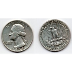 1953-D EEUU 1/4 DÓLAR plata, George Washington