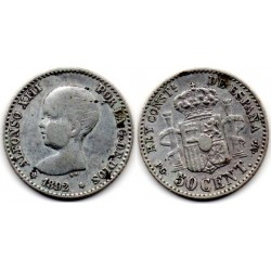 1892 50 ctmos plata Alfonso XIII