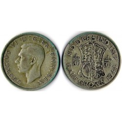 1944 Reino Unido, Georgius VI -Moneda plata Half Crown