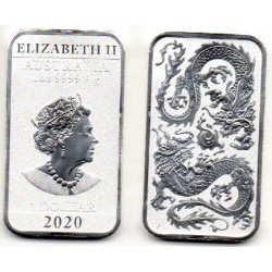 2020 Australia Dragon 1 onza plata rectangular