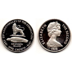 1978 Ascension Island one Crown plata Proof