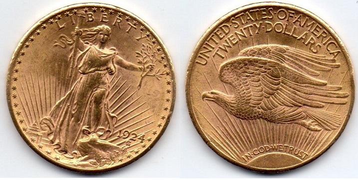 20 dolares oro americanos, doble aguila